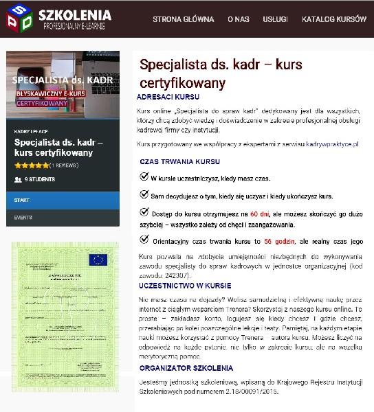 """Kurs """"specjalista Ds. Kadr""""-szkolenie Online"""